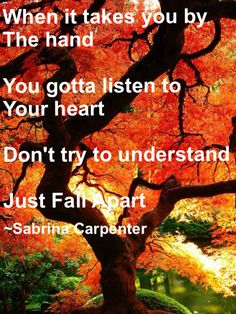 When it take you by the hand You gotta listen to your heart Don't try to understand Just fall apart ~Sabrina Carpenter