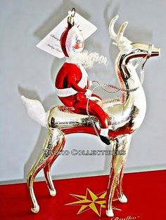 Radko Retired Italian STERLING RIDER Santa Reindeer Limited Edition w/ Tag & Box.  This sells for over $ 650!  #radko #ornament Old World Christmas Ornaments, Christmas Trees, Christmas Decorations, Holiday Decor, Christopher Radko Ornaments, Santa And Reindeer, Mercury Glass, Christmas Traditions, Beautiful Christmas