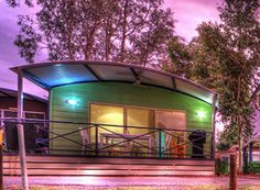 Accommodation - Riverfront Deluxe Cabin (Grnd Level - Wheelchair Accessible) - BIG4 Deniliquin Holiday Park. This wonderful cabin sleeps up to five, has a spacious veranda and is wheelchair accessible.