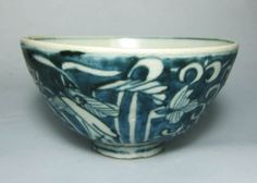Late Ming Swatow Blue and White Bowl Heron in Lotus Pond | eBay
