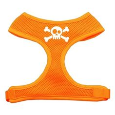 Mirage Pet Products Skull Crossbones Screen Print Soft Mesh Dog Harnesses Small Orange ** Want additional info? Click on the image.