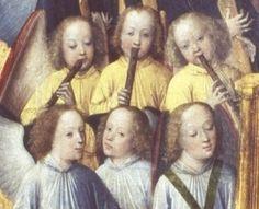 Le Couronnement de la Vierge.  Détail montrant des flûtes à bec du 15e siècle.  Peinture sur bois de Lyversberg.  Alte Pinakothek, Munich.