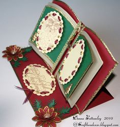 Sarah Pinyan posted Triple heart easel card to her -Papercraft- postboard via the Juxtapost bookmarklet. Fancy Fold Cards, Folded Cards, Homemade Christmas Cards, Homemade Cards, Pinterest Cards, Crafters Companion Cards, Mom Cards, Card Book, Shaped Cards