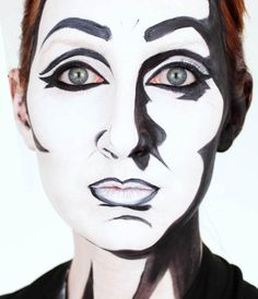If you're looking for a last minute Halloween costume idea, this is a really easy look to pull together. All you need is some black and white facepaint, a black wig (unless you already have black h...
