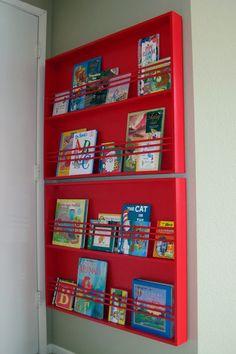diy bookshelves, little to no space behind the door in kids room