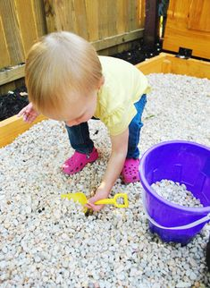 YHL rock box - I'm not sure why I never thought of this before. Frankly, our daughter prefers playing in landscaping rock over sand anyways. Plus then you don't have to worry about the health risks.