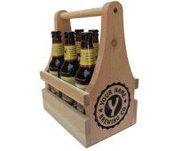 Personalized Beer Carrier-6-Pack Beer Caddy-Wooden Beer Tote - Brewing Company Edition