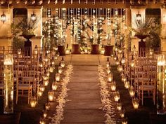 Beautiful candle lit wedding ceremony with tulle, ribbons and flower petals. Wedding Aisles, Wedding Ceremony Ideas, Mod Wedding, Wedding Venues, Wedding Ceremonies, Trendy Wedding, Church Wedding, Fall Wedding, Perfect Wedding