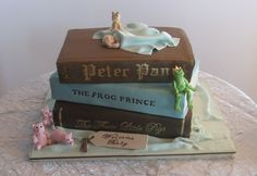 Fairy Tale Baby Shower Cake - Stacked books (3 flavors), gumpaste dog, pigs, frog, baby and blanket.