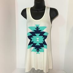 Tribal print racerback top Tribal print racer back top. Mint SZ small medium. coral s-m-l Tops Tank Tops