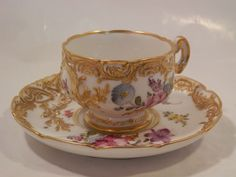 Late 19Th Century Dresden Demitasse Cup And Saucer... from litchfieldantiques on Ruby Lane