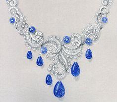 Gouaché de bijoux collier de Cartier