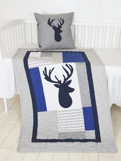 Deer Blanket, Elk  Chevron Quilt, Hunting Nursery,  Boy Woodland Toddler Bedding, Tribal Animal Blanket by Customquiltsbyeva on Etsy