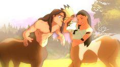 Centaurs - Pocahontas and Tarzan Disney Au, Disney Crossovers, Centaur, Tarzan, Pocahontas, Disney Characters, Fictional Characters, Anime, Childhood