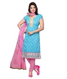 Trendz Apparels Blue Chanderi Cotton Silk Straight Fit Salwar Suit
