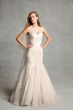 Bliss by Monique Lhuillier strapless lace wedding gown