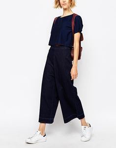 Waven Wide Leg Raw Hem Denim Cullottes