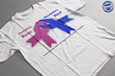 Camiseta Outubro rosa e novembro azul Pink October, Breast Cancer Awareness, Blue, Professor, Tops, Movember, Breast Cancer, Toddler T Shirts, Backen