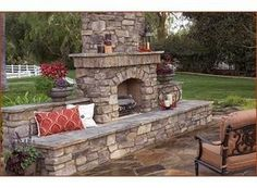 Dry Stack Stone Faced Outdoor Fireplace
