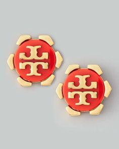 Tory Burch  Walter Logo Stud Earrings, Orange Heart it on Wantering and get an alert when it goes on sale.