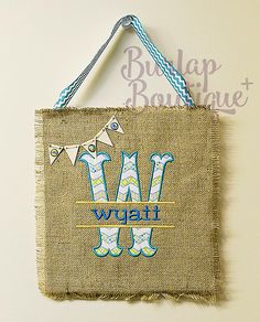 Letter and Name Personalized Applique Embroidered Burlap Door or Wall Hanging for little boy or girls room! Personalized!