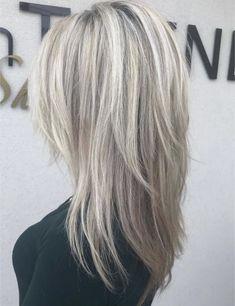 Medium Hair Cuts, Long Hair Cuts, Medium Hair Styles, Long Hair Styles, Brown And Silver Hair, Silver Blonde Hair, Love Hair, Great Hair, Hair Dryer Brush