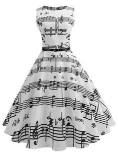 White Music Note Swing Dress – Retro Stage - Chic Vintage Dresses and Accessories Cute Prom Dresses, Pretty Dresses, Beautiful Dresses, Elegant Dresses, Sexy Dresses, Prom Gowns, Homecoming Dresses, Formal Dresses, Wedding Dresses