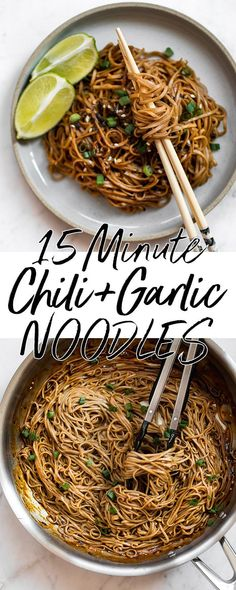 These spicy chili garlic noodles are fast, incredibly flavorful, and vegan. They're super easy - this dish is ready in under 15 minutes! #chiligarlicnoodles #sobanoodles #noodles #spicynoodles