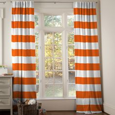 Onyx Horizontal Stripe Drape Panel made with care in the USA by Carousel Designs. New Homes, Carousel Designs, Drapery Panels, Striped Nursery, Orange Nursery, Bunk Beds Built In, Drape Panel, Drapes, Orange Boys Rooms