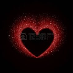 Happy Valentines Day Card with Red Glittering Star Dust Heart, Red Sparkles on Black Background Stock Vector - 50855400
