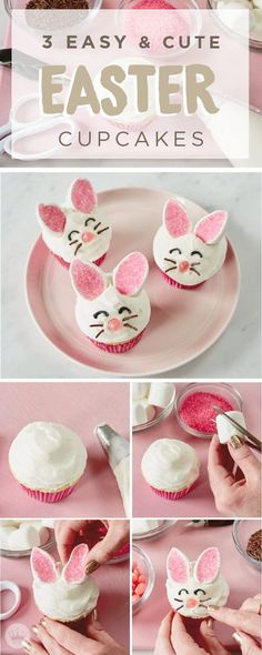 This Easter, offer to bring dessert to your family get together. These 3 easy and cute Easter cupcakes, inspired by Hallmark, are the perfect sweet treats for your holiday festivities. Click here to see step-by-step tutorials including this one for bunny cupcakes!
