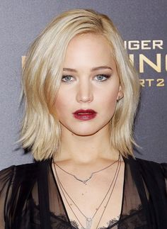 Jennifer Lawrence's Icy Blond Hair + Burgundy Lips