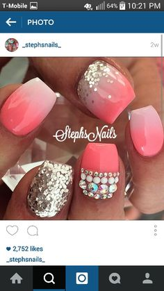 Pink n silver nails