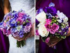 Two different styles of purple, lavender, pink, and mauve bouquets. From Borrowed Blue Photography.