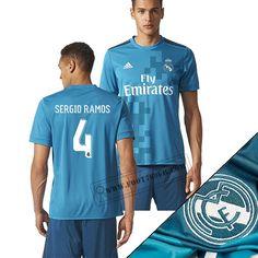 Haute Qualité Nouveaux Maillot Real Madrid (Sergio Ramos 4) Third Bleu Avec Flocage Vintage 2017/2018 Personnalise