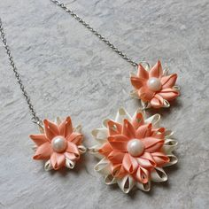 Peach Necklace Peach and Ivory Necklace Peach Wedding Peach Bridesmaid Pale Orange Necklace Handmade Peach Jewelry Pale Orange Jewelry