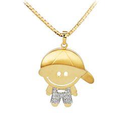 PINGENTE MENINO BONÉ Em ouro amarelo, com 15 diamantes. Acesse: www.missjoias.com.br #missjoias #aquitem #vempramiss #luxo #joias #familia #pingentes
