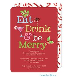 Christmas Cocktail Party Invitations. Eat Drink and be merry Christmas cocktail party invitation