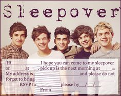 One direction birthday invitations