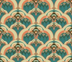 "There are some really amazing designs among the top ten fabrics from the art deco contest, but at the head of the list is ""a deco garden"" by Brazilian illustrator and first-time winner Julia Bianchi. Description from spoonflower.com. I searched for this on bing.com/images"