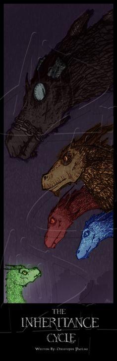 From Top: Shruikan (Galbatorix), Glaedr (Oromis), Thorn (Murtagh), Saphira (Eragon), Firnin (Arya)