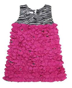 Zebra w/ Fuchsia Ruffle Dress - How cute would this be on your little girl?! http://www.buttonsandbeanstalks.com/Zebra-w-Fuchsia-Ruffle-Dress_p_1042.html
