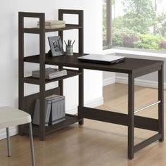 Add a touch of style in your home with this inviting Folio desk from the CorLiving Collection. This item is featured in our Black Espresso faux wood finish and has unique bookshelf styling. With a light airy appearance, the desktop offers plenty of r Decor, Bookshelf Styling, Black Desk, Bookshelf Desk, Home Office Desks, Bookshelves, Home Decor, Desk, Furniture