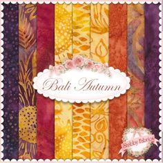 "Bali Autumn  9 FQ Set By Hoffman Fabrics: Bali Autumn is a selection of fall batik fabrics from the Bali Handpaints and Bali Watercolors Hoffman Fabrics collections.  100% cotton.  This set contains 9 fat quarters, each measuring approximately 18""x 21""."