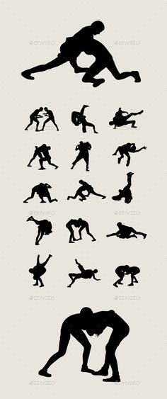 Wrestlers Fighting Silhouettes