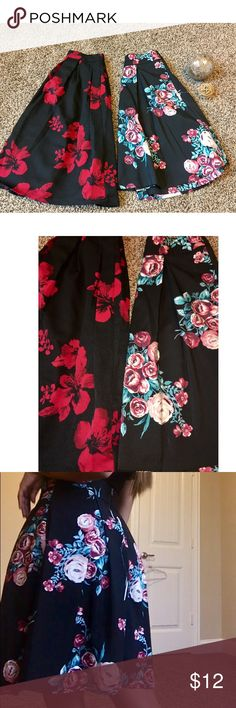 💐TWO long skirts💐 💐MULTI colored skirt comes with pockets.🌹 Black and Red does not Soulmates Skirts Midi