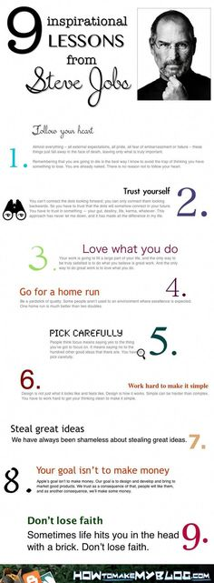 9 Inspirational Lessons From Steve Jobs [Infographic] The best advice for our soon to graduate students. Advice for your teen, Steve Jobs inspirational story, inspiring others Citations Business, Business Quotes, Motivacional Quotes, Life Quotes, Work Quotes, Career Quotes, Steve Job Quotes, Wisdom Quotes, Coaching Quotes
