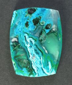 Bright Blue Gem Chrysocolla and Malachite Cabochon