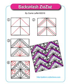 Backsplash ZigZag by Carrie Leffel Doodle Designs, Doodle Patterns, Line Patterns, Zentangle Patterns, Zentangle Drawings, Doodles Zentangles, Doodle Drawings, Doodle Zen, Tangle Doodle