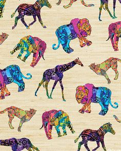 Serengeti Reflection - Painted Animal Menagerie - Natural